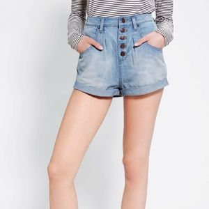 BDG Pleated Full-Leg Denim Shorts High Rise Mom